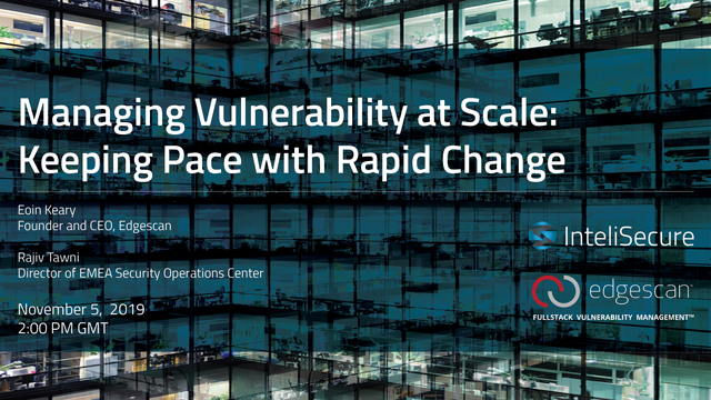 Managing Vulnerability at Scale: Keeping Pace with Rapid Change