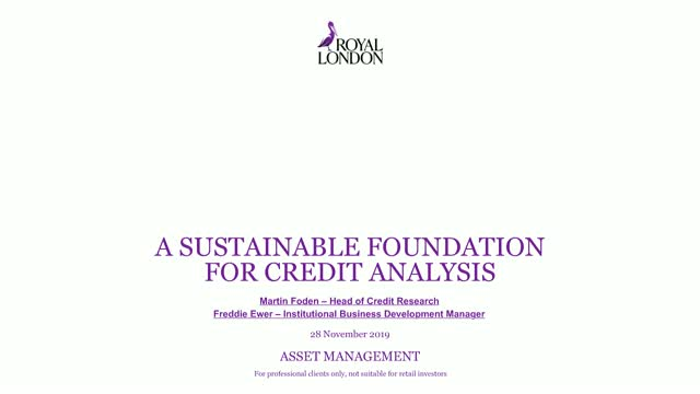 A sustainable foundation for credit analysis