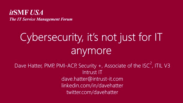 Cybersecurity, It's Not Just for IT Anymore