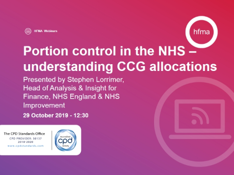 Portion control in the NHS – understanding CCG allocations