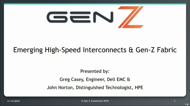 Emerging High-Speed Interconnects & Gen-Z Fabric