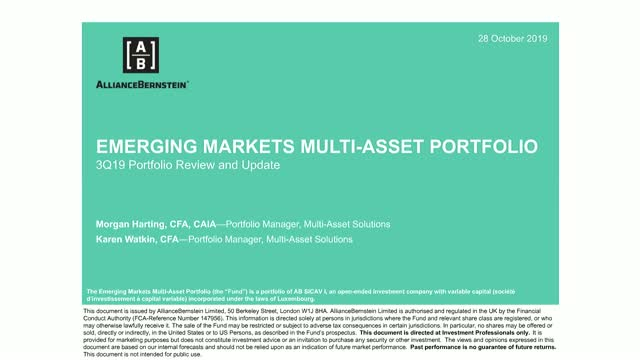 AB Emerging Markets Multi-Asset Portfolio: 3Q19 Portfolio Review and Update