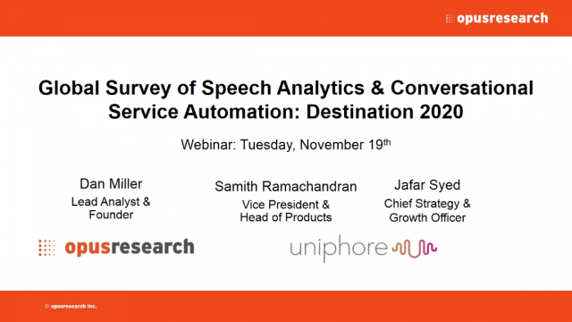 Global Survey: Speech Analytics & Conversational Service Automation