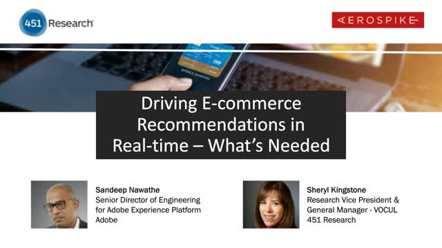 Driving E-commerce Recommendations in Real-time - What's Needed
