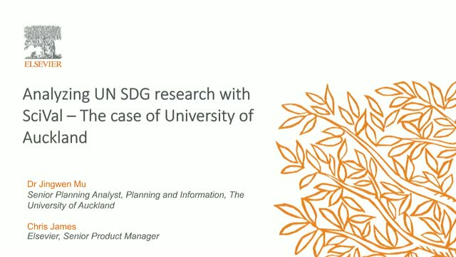 Analyzing UN SDG research with SciVal – The case of University of Auckland