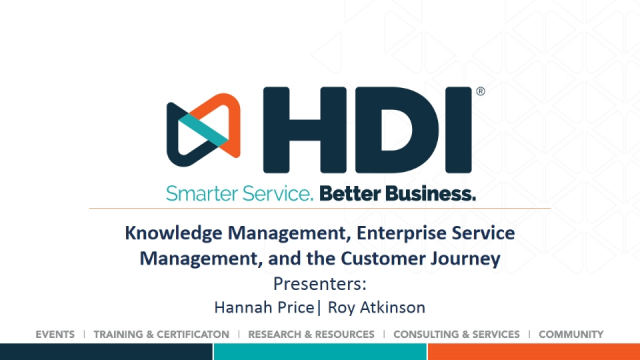 Knowledge Management, Enterprise Service Management, and the Customer Journey