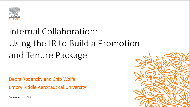 Internal Collaboration: Using the IR to Build a Promotion and Tenure Package