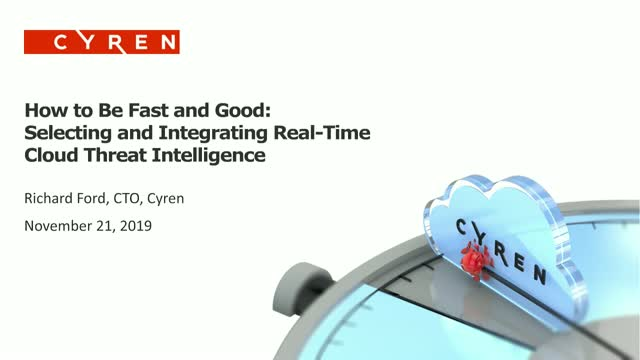 Selecting and Integrating Real-Time Cloud Threat Intelligence