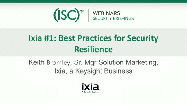 Keysight #1 - Best Practices for Security Resilience