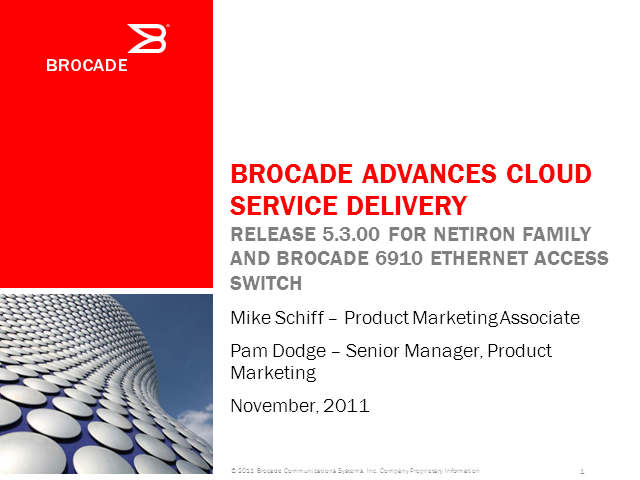 Brocade Advances Cloud Service Delivery