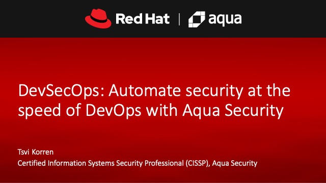 DevSecOps: Automate security at the speed of DevOps with Aqua Security