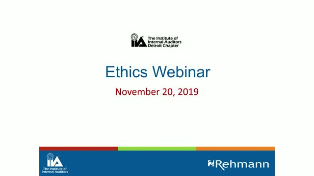 IIA Detroit Chapter Ethics Webinar