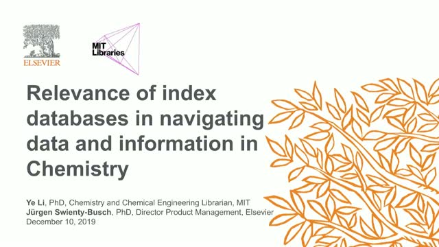 Relevance of index databases in navigating data and information in Chemistry