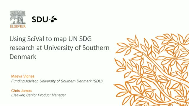 Using SciVal to map UN SDG research at University of Southern Denmark