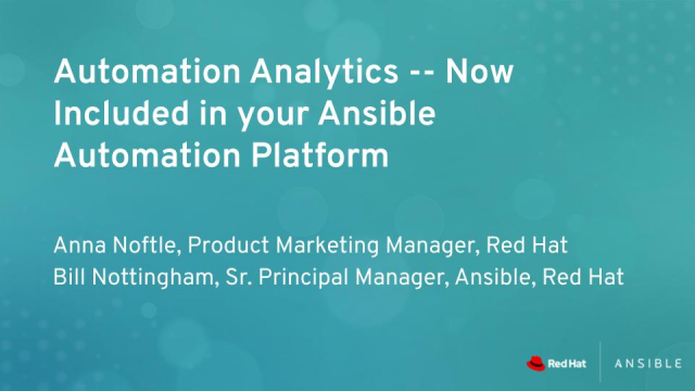 Automation Analytics — Now Included in your Ansible Automation Platform
