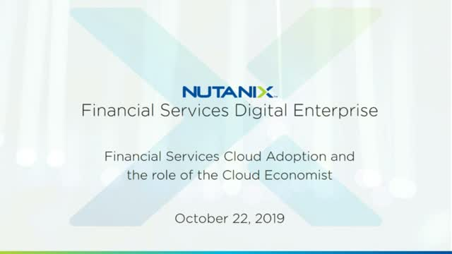 Financial Services Cloud Adoption and the role of the Cloud Economist