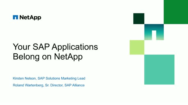 Your SAP Applications Belong on NetApp​