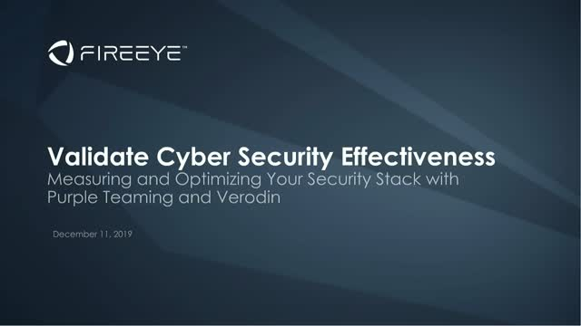 Validate Cyber Security Effectiveness
