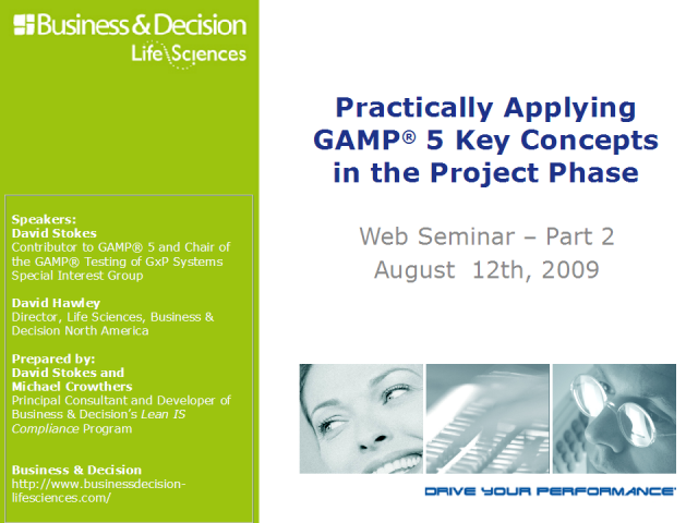 Practically Applying GAMP® 5 Key Concepts in the Project Phase
