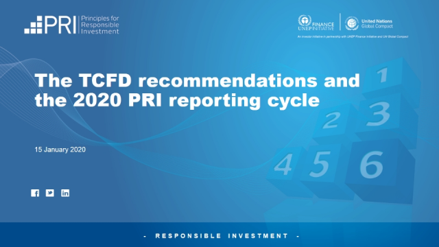 The TCFD recommendations and the 2020 PRI reporting cycle