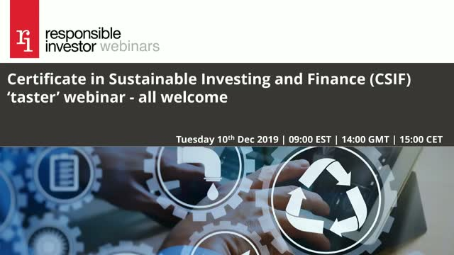 Certificate in Sustainable Investing and Finance (CSIF) Taster