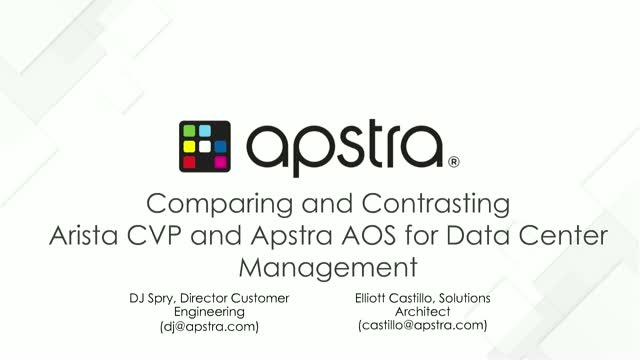 Apstra AOS vs Arista CVP; Compare and Contrast for DC Management