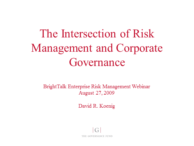 The Intersection of Risk Management and Corporate Governance
