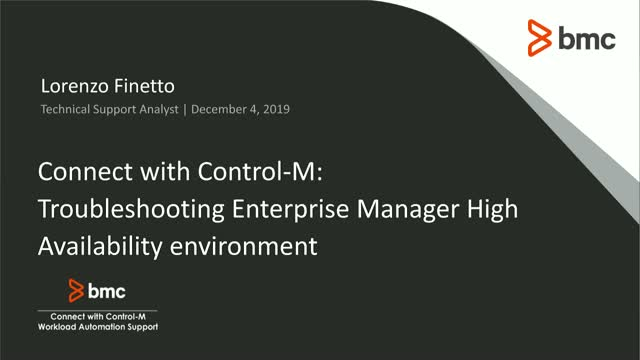 Connect With Control-M: Troubleshooting Control-M/Enterprise Manager HA
