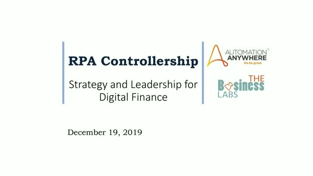 RPA Controllership: Strategy and Leadership for Digital Finance