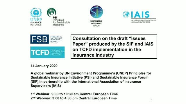 Consultation on the SIF-IAIS Issues Paper on TCFD Implementation in Insurance