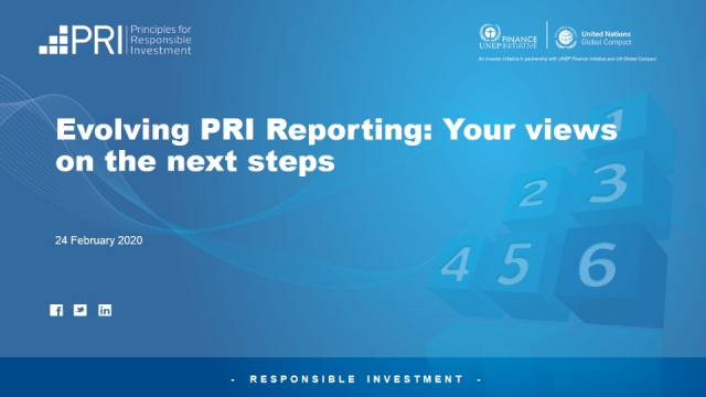 Evolving PRI Reporting: your views on the next steps