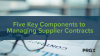 Five Key Components to Managing Supplier Contracts