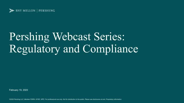 Regulatory and Compliance Webcast
