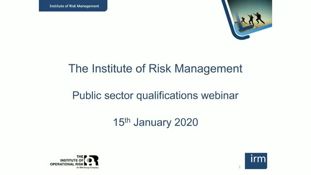 Risk Management in the public sector qualifications webinar