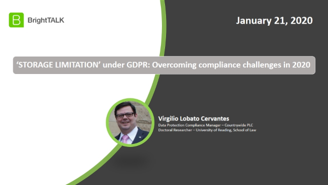 STORAGE LIMITATION under GDPR: Overcoming compliance challenges in 2020