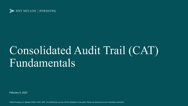 Consolidated Audit Trail (CAT) Update Webcast