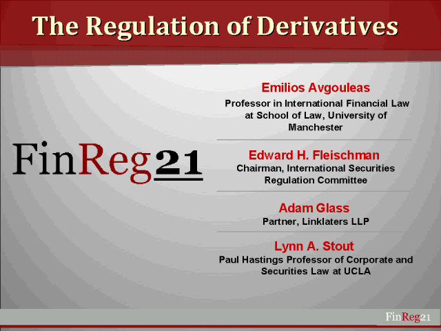 The Regulation of Derivatives
