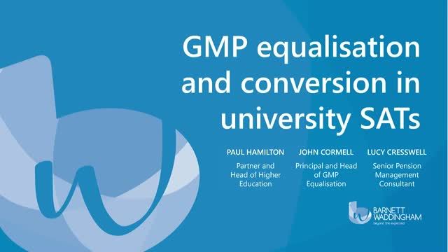 GMP Equalisation and conversion in university SATs