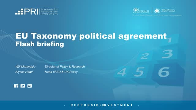 Flash briefing: EU Taxonomy political agreement