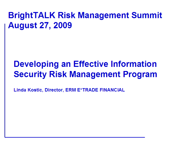 Developing an Effective Information Security Risk Management