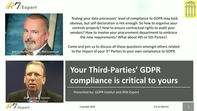 Your Third-Parties' GDPR compliance is critical to yours