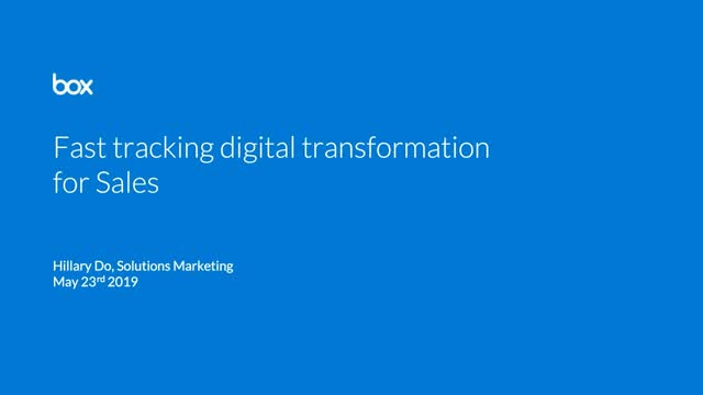 Fast tracking digital transformation for sales