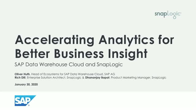 SAP and SnapLogic: Accelerating Analytics for Better Business Insight