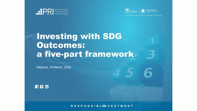 Webinar: Consultation on PRI's proposed framework on Investing with SDG outcomes