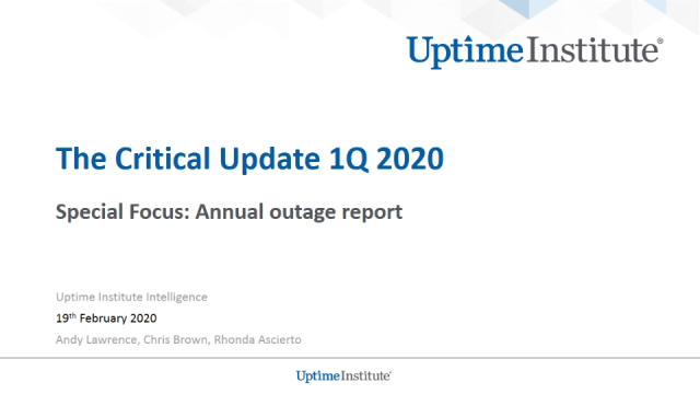 The Critical Update - 1Q 2020: Outages Analysis Update