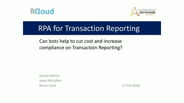 Can bots help to increase compliance on Transaction Reporting?