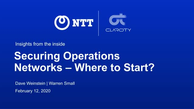 Securing Operations Networks – Where to Start?