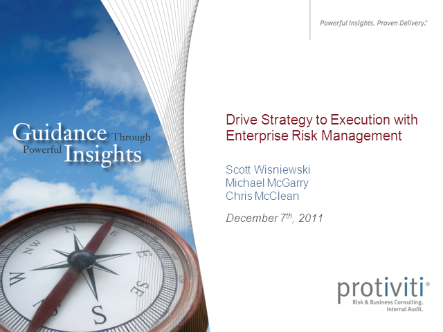Drive Strategy to Execution with Enterprise Risk Management