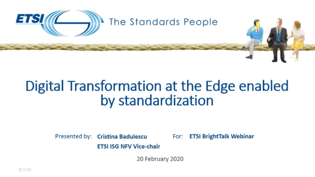 Digital Transformation at the Edge enabled by standardization