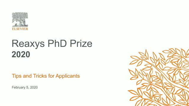 Reaxys PhD Prize 2020 - Tips and Tricks for Applicants